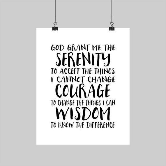 Digital Printable Serenity Prayer God Grant Me Calligraphy Typography Print Black White Wall Decor Spiritual Art 5x7 8x10 16x20 A4 Sizes In 2021 Serenity Prayer Serenity Prayer Printable Serenity Prayer