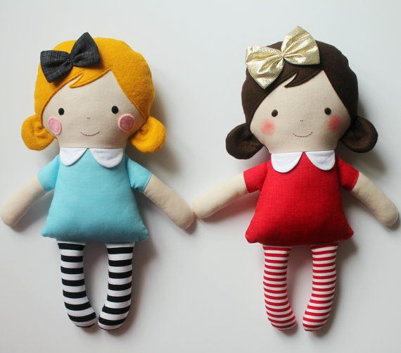 Mini red doll Red rag doll with a golden bow Gift idea by blita
