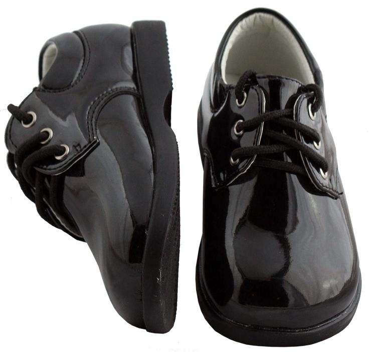 Black Infant-Toddler Tuxedo Shoes 294  by Fouger ( Round Toe )
