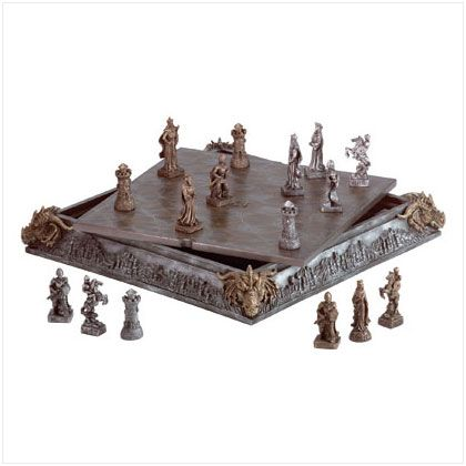 Knights and dragons play on a medievally crafted board that adds mystical appeal to the timeless battle of chess. All 32 finely detailed chessmen fit inside the elaborately carved chessboard case.