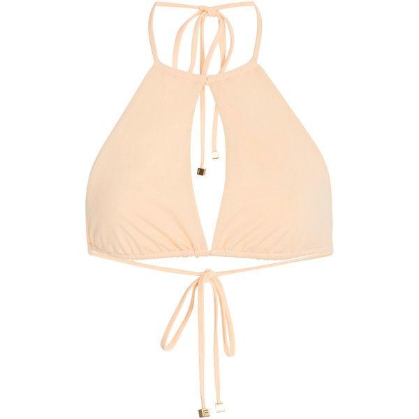 Fella Henry Cutout Halter Bikini Top ($115) ❤ liked on Polyvore featuring swimwear, bikinis, bikini tops, neutral, halter neck bikini, halter tankini tops, halter cut out bikini, swim tops and swimsuit tops