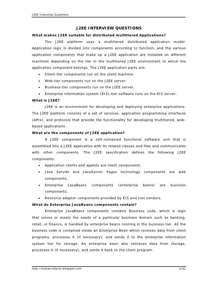 J2Ee Interview Questions