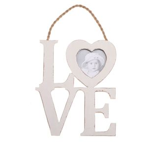 Wooden Hanging Love Word with Heart Photo Frame - Square