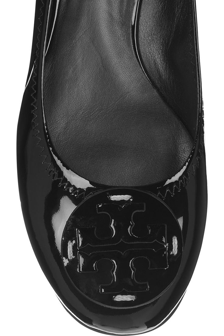 Black patent-leather Elasticated, cutout designer logo at round toe Slip on