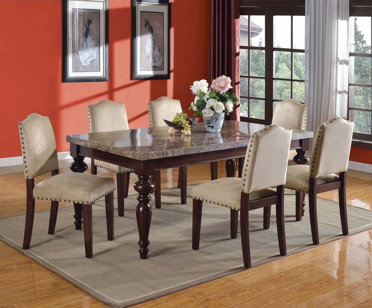 Acme 70380 Bandele 7pcs Grey Marble Top Espresso Leg Table Dining Set