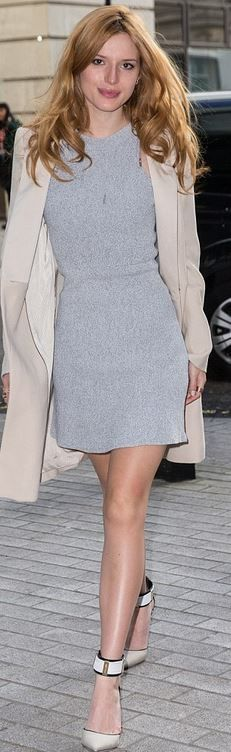 Who made Bella Thorne's gray dress and tan coat?