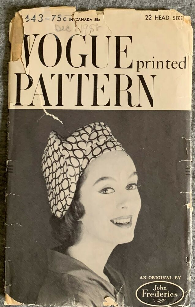 Vogue Millinery Designer John Frederics Hat Fabric material sew pattern # 9328