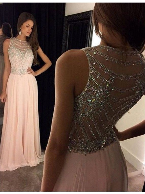 Glamorous Bateau Sleeveless Illusion Back Long Pink Prom Dress with Beading , sparkling prom party dresses, pink long party dresses.