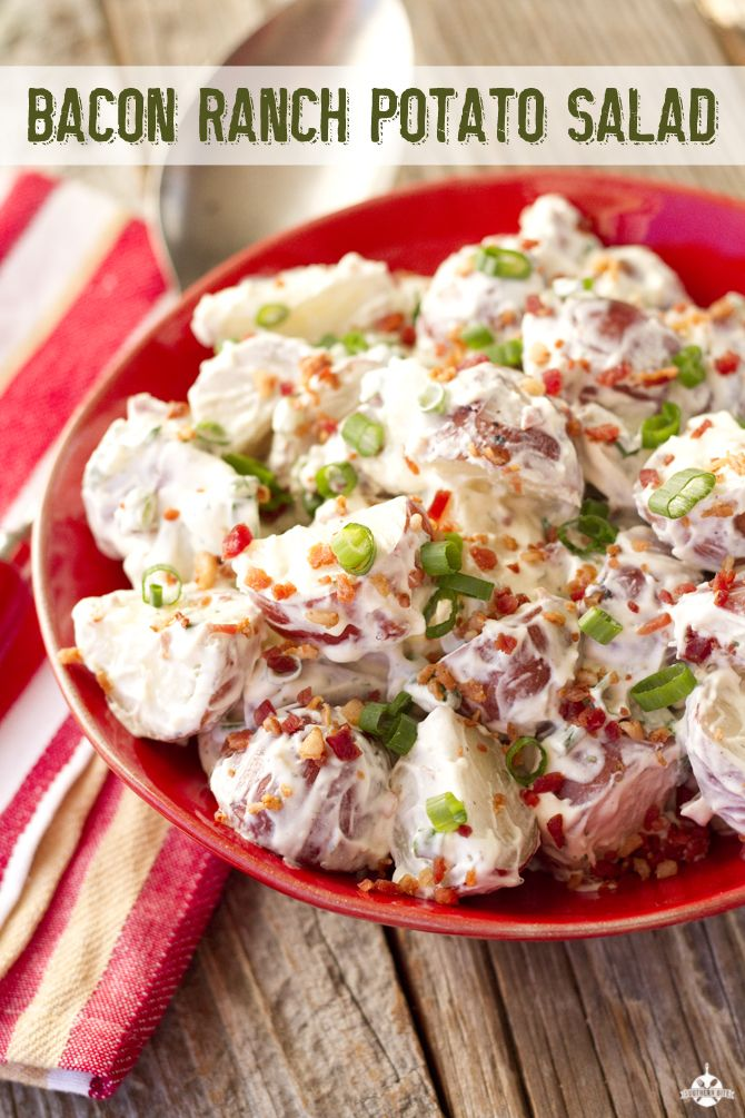 This Bacon Ranch Potato Salad recipe is perfect for your Memorial Day barbeque!
