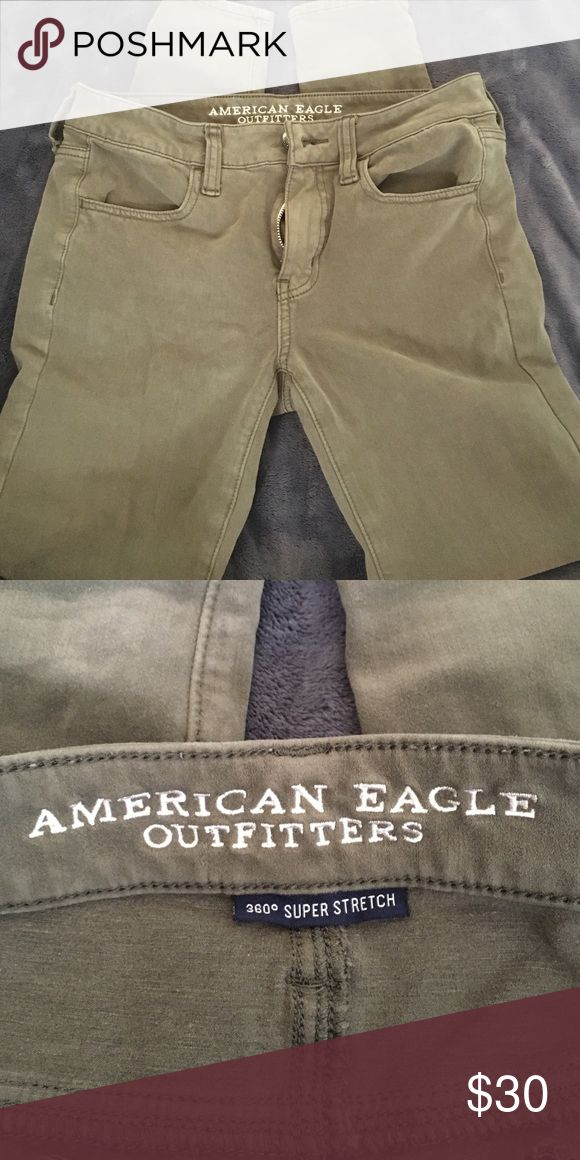 AE Army Green Jeggings 360° super stretch army green jeggings from american eagle, worn maybe once American Eagle Outfitters Jeans