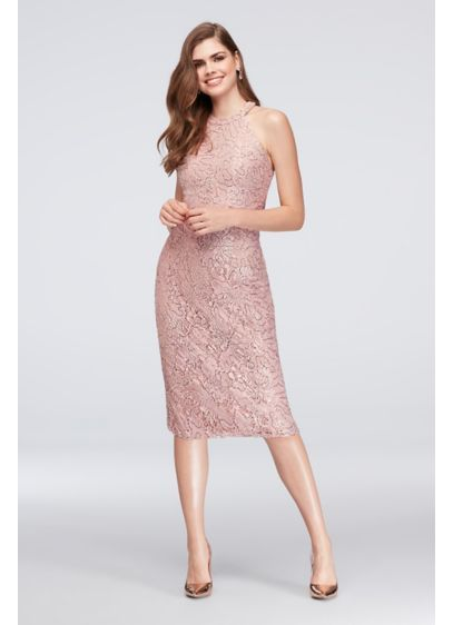 73890f3eca Long Sheath Halter Cocktail and Party Dress - Morgan and Co Sparkly  Bridesmaid Dress