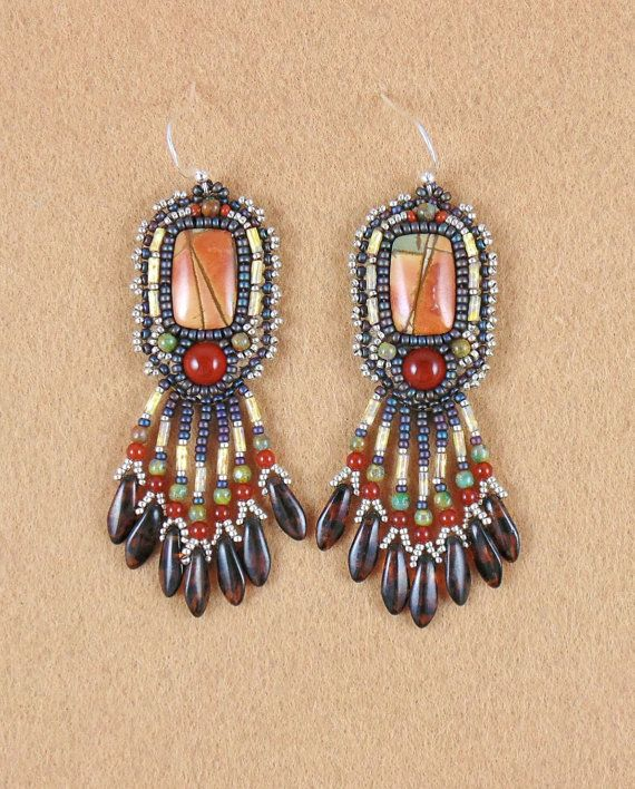 Earrings bead embroidery beaded Red Creek Jasper by sedonaskye