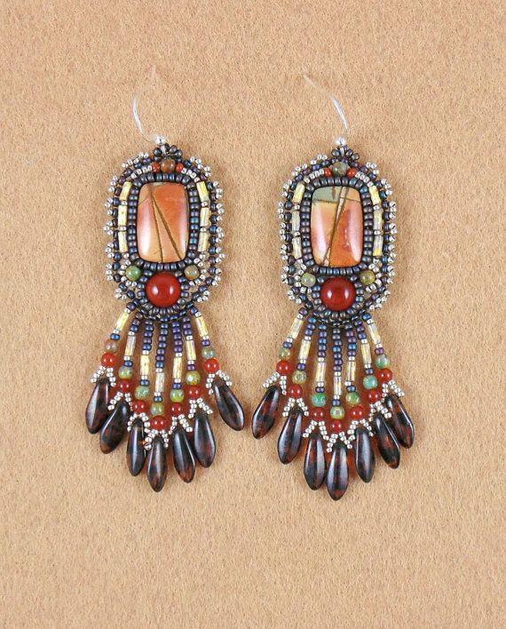 Earrings bead embroidery beaded Red Creek Jasper by sedonaskye