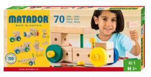 Kleiner Holzbaukasten Ki 1 von Matador mit 70 Teilen