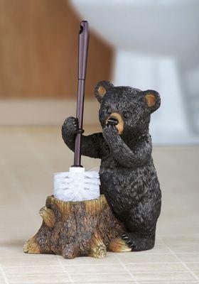 Northwoods Bear Toilet Brush Holder - So funny!  The cute little black bear holds the toilet brush in a tree stump.