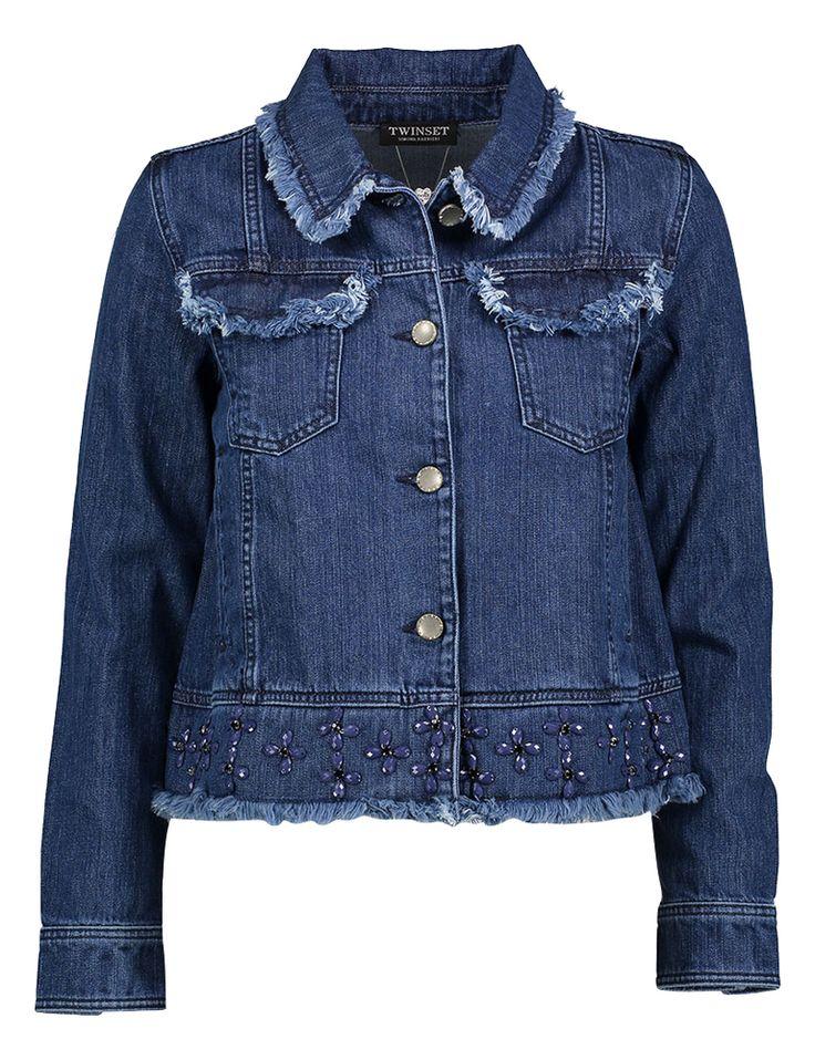 Blauw jeansjasje twinset met blauwe fantasiesteent online bij Deleye.be & BeKult denim blue jeans jacket