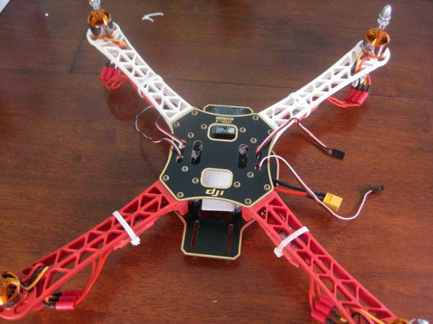 Frame with flight control receiver and props removed