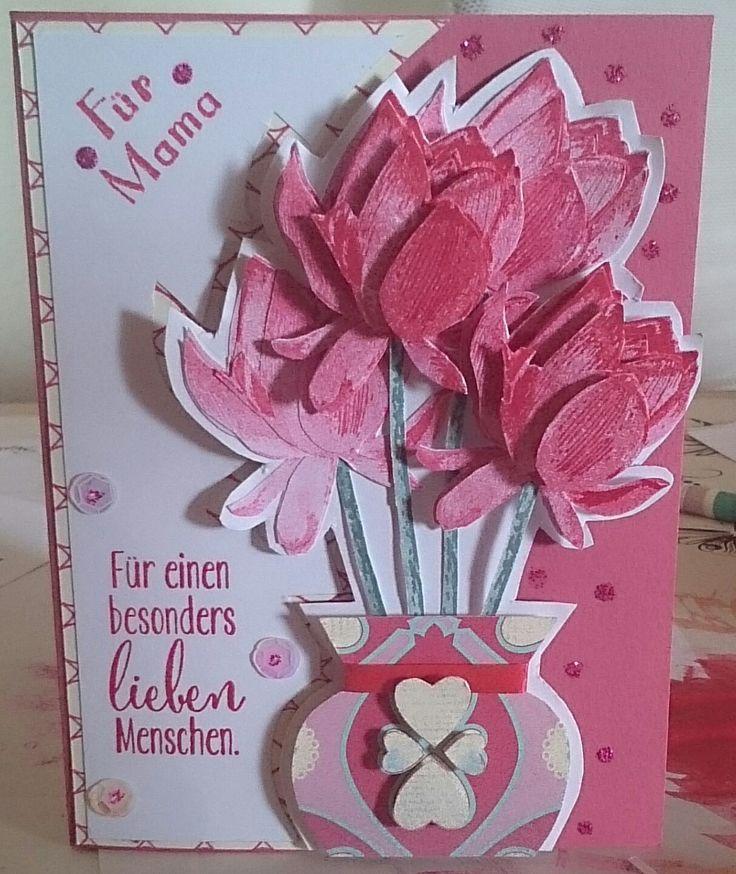 Hier ist eine schöne Muttertags Karte die ich mit dem Stempelset So froh gemacht habe