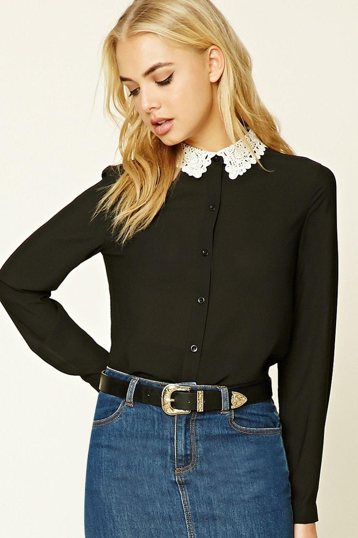 Crochet Collar Semi Sheer Shirt
