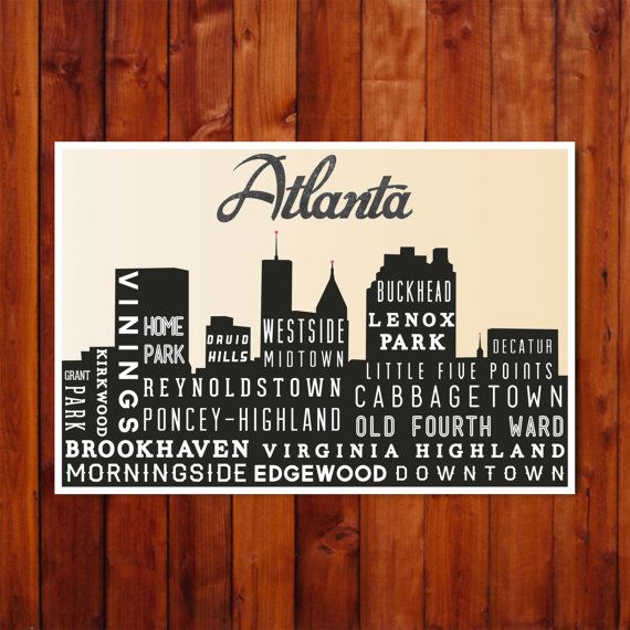 Atlanta Skyline Art, Travel Poster, Print, Wall Art, Typographic Art, Modern Home Decor