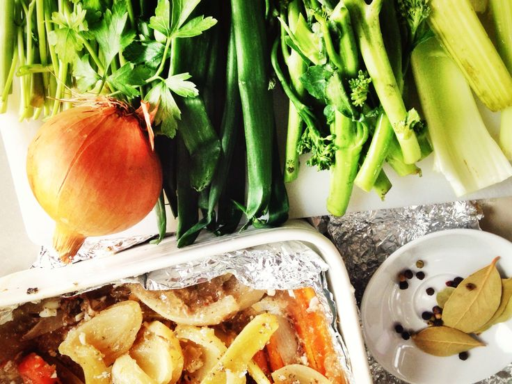 Vegetables and left over roasting juices ready to make Homemade Stock (Bone Broth) using the ingredients some people throw away. Waste Not Want Not! Super simple recipe and step by step photos... http://www.eatraiselove.com/eat/homemade-stock-bone-broth/