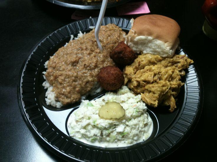 Mustard based pulled pork, hash, and coleslaw, Piggie Park Restaurant, West Colombia, South Carolina.