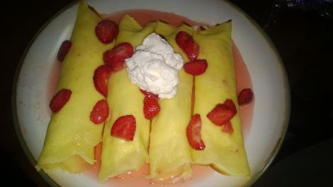 Strawberry Cheesecake Crepes with fresh whipped cream!