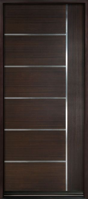 Modern Euro Collection Mahogany Wood Veneer Solid Wood Front Entry Door - Single - DB-EMD-B1W