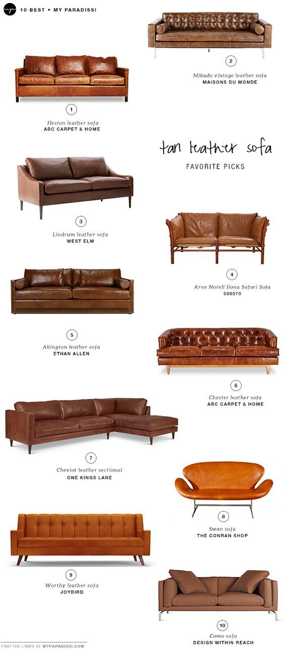 10 BEST: Tan leather sofas: