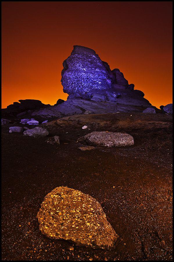 Orange Night by Kiss Zsolt. .Romanian Sphinx located in Bucegi mountains. #Romania