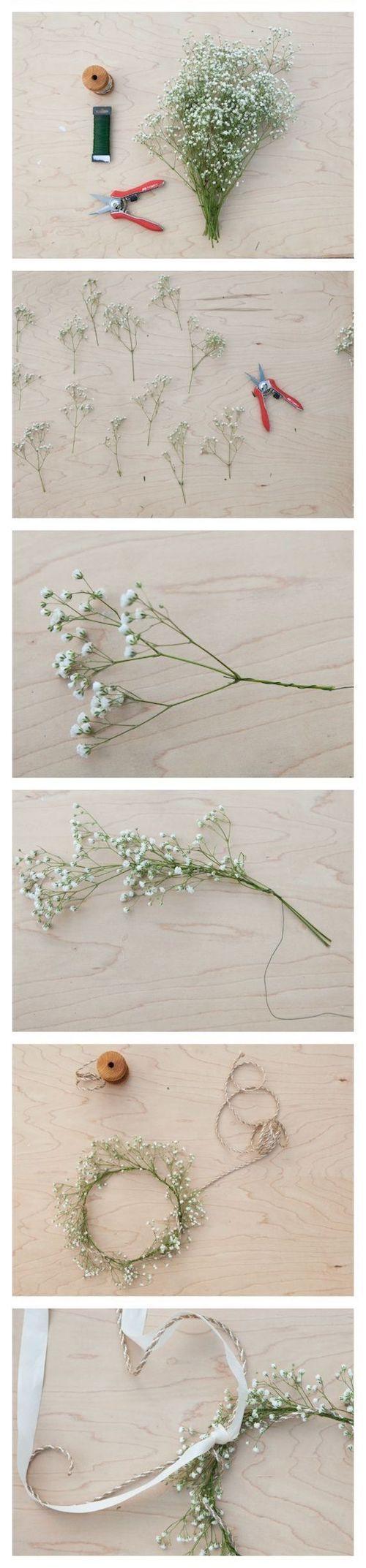 Para las que prefieren no gastar mucho en este detalle pero igual lucir increíbles: como hacer una corona de flores con gipsófilas o flores de relleno. #novias #diy