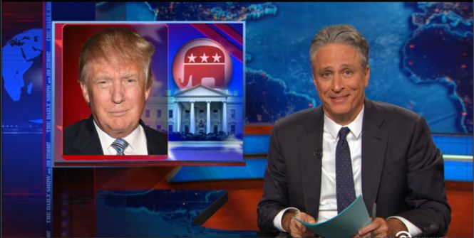 """TV's late-night comedy shows were popping Monday, as Donald Trump got slammed on """"The Daily Show with Jon Stewart"""" and """"Jimmy Kimmel Live,"""" and comedy director Judd Apatow did a stinting impression of Bill Cosby on """"The Tonight Show."""""""
