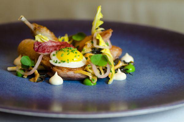 Amazingly fresh <3 Quail Salad: Quail Kiev and Douglass Fir.    Pied a Terre - London, England.