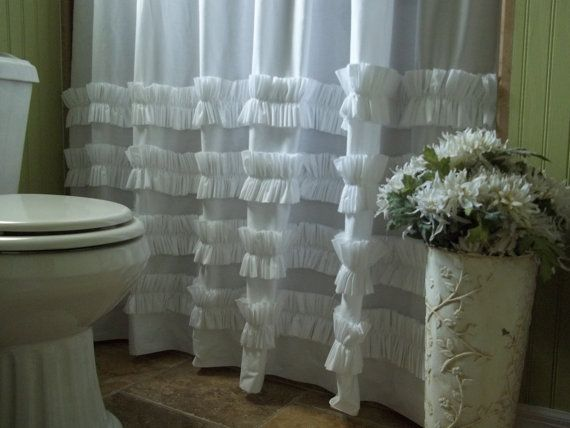 White Cotton Ruffles Shower Curtain -Shabby Chic - Cottage- Beach on Etsy, $74.00