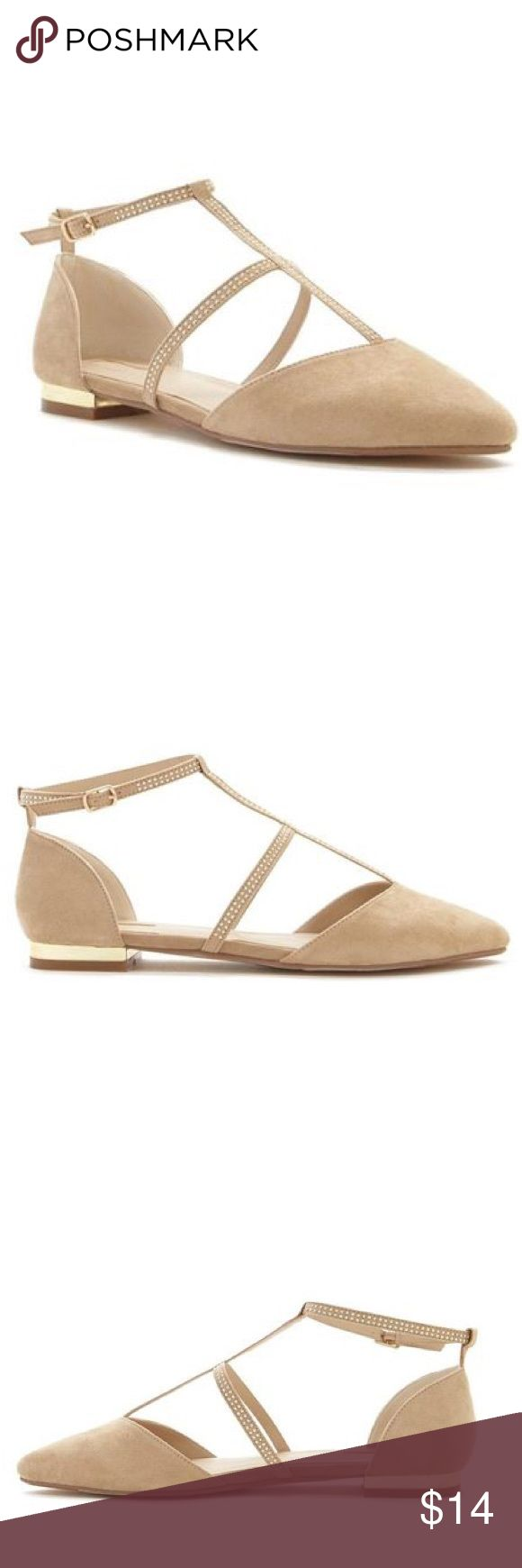 """Nude pointed toe flats A Pair Of Faux Suede Flats Featuring A Pointed Toe, Cutout Sides, A Strappy Caged Design With High-Polish Studs, An Ankle Strap Closure,And A Low Heel - Padded Insole, Textured Outsole - Upper: 100% Polyester - Lining 1: 87% Polyester, 10% Cotton, 3% Rayon - Lining 2 & Insole: 100% Polyurethane - Outsole 1: 100% Rubber - Outsole 2: 80% Rayon, 15% Cotton, 5% Nylon - Heel Height: 0.5"""" - Shaft Height: 4"""" Forever 21 Shoes Flats & Loafers"""