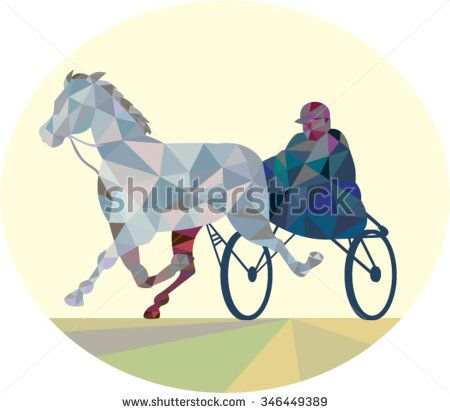 Low polygon style illustration of a horse and jockey harness racing viewed from the front set on isolated white background. - stock vector #jockey #lowpolygon #illustration