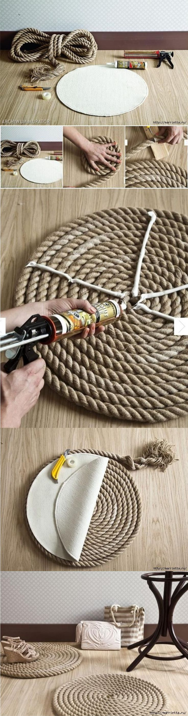DIY Rope rug. Use the same idea to create rope place mats for a nautical themed tablescape.: