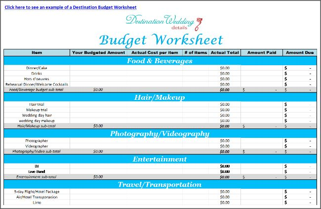 Free & easy destination wedding spreadsheets - Budgeting worksheet, RSVP tracking sheet and Seating chart.