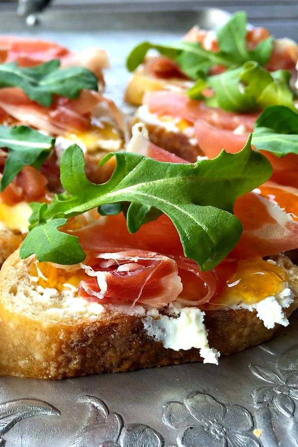 Prosciutto Goat Cheese Crostini - an elegant, delicious appetizer to serve or bring to any party!