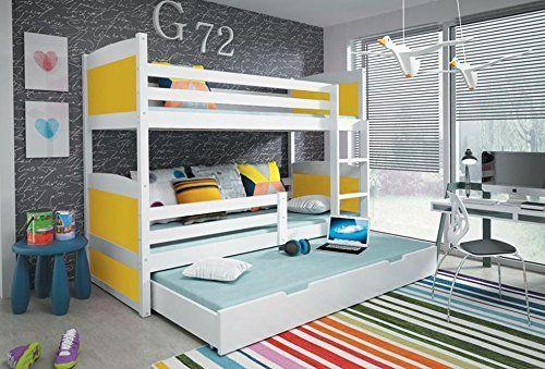 Letto a castello triplo RICO per bambini Dimensioni: 185x80 cm, bianco, materassi gratuiti di Interbeds, http://www.amazon.it/dp/B019WJBP08/ref=cm_sw_r_pi_dp_gbSDxbHT7CJ35