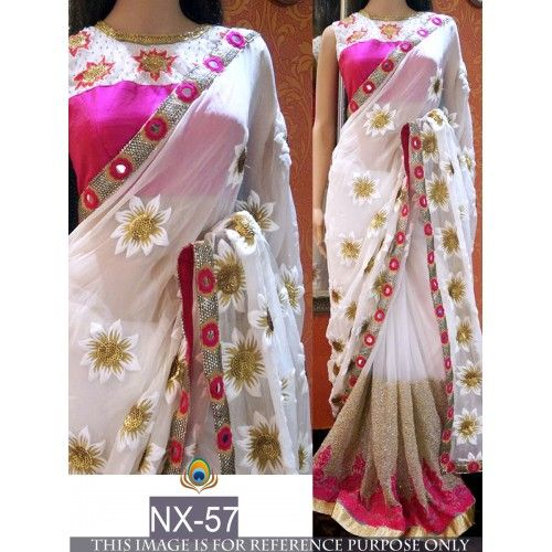 Fabulouos white embroidered saree