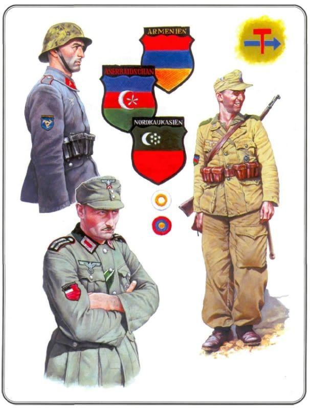 Conscripts from the Caucasus, forming the respective, Azerbaijani, Armenian and North Caucasus legion
