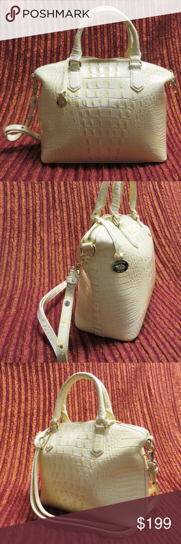 Brahmin Crocodile-embossed Leather Shoulder Bag Brahmin Crocodile-embossed Leather Shoulder Bag - NWOT in pastel yellow, perfect for summer outings and all occasions. Comes with detachable/adjustable cross-body strap and dust cover bag. Never been carried. Bags Shoulder Bags