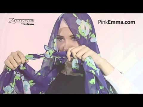 Tutorial Hijab Pashmina Zaskia Sungkar: Tampil Chic Dengan Hijab Floral - YouTube