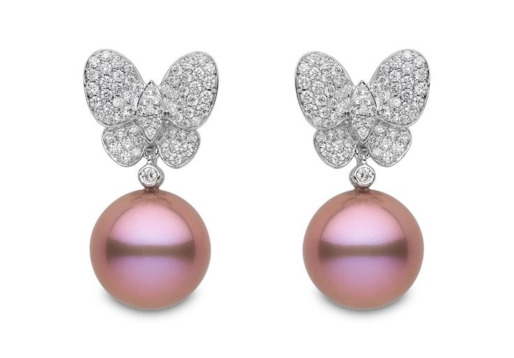 Yoko London 18kt white gold earrings with 13-14mm natural colour radiant orchid pearls and 1.25cts diamonds.