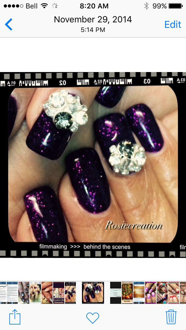 Purple glitter nails 3D gel , Swarovski jewelry