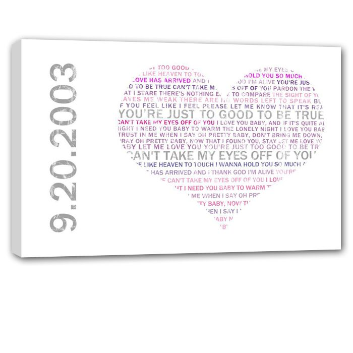 meaningful gift words in heart on custom canvas something you