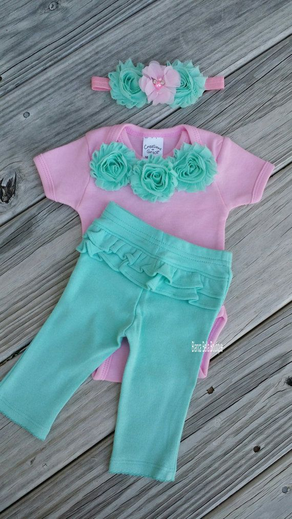 Newborn Take Home Outfit Baby Girl Onesie by BiancaBellaBoutique i love these colors together