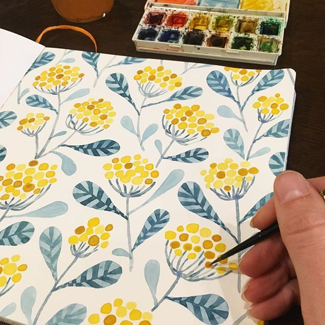 Kirsten Sevig. Painting a new floral pattern this morning. Happy Thursday…