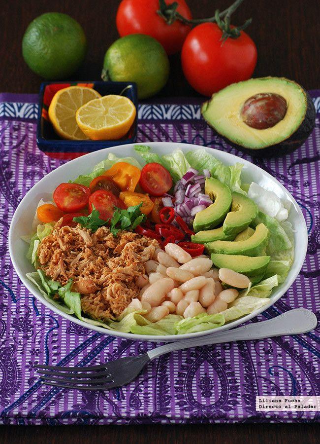 Ensalada burrito colorida con pollo y alubias. #Receta